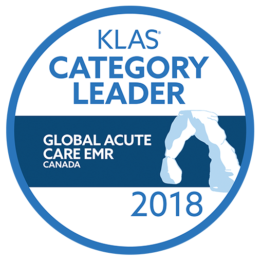 2018 KLAS award - Category Leader for Global Acute Care EMR - Canada