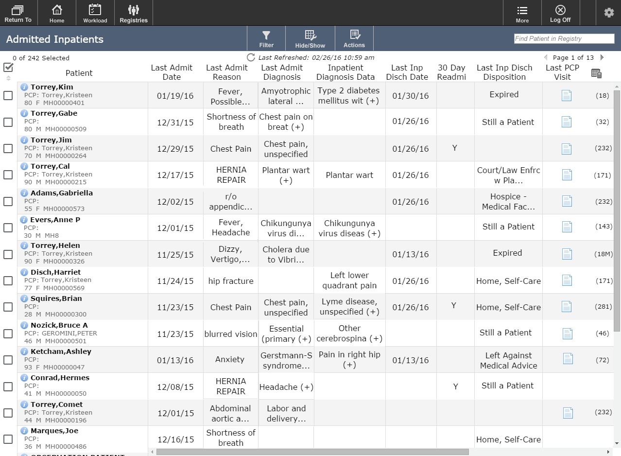 MEDITECH Care Coordination tablet screenshot