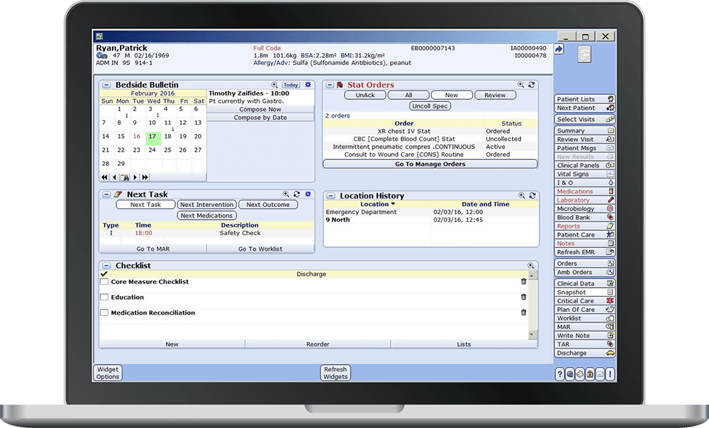 MEDITECH Critical Care Management Screenshot