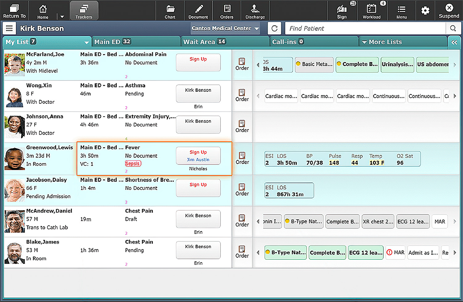 MEDITECH ED patient tracker screen shot