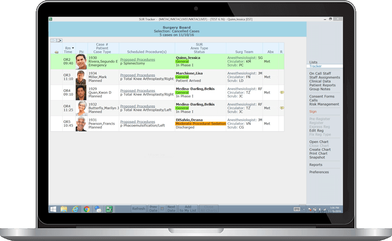 MEDITECH Surgical Services Patient Tracker screenshot