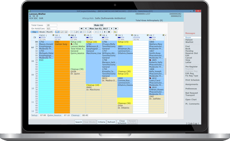 MEDITECH Surgical Services Scheduling screenshot