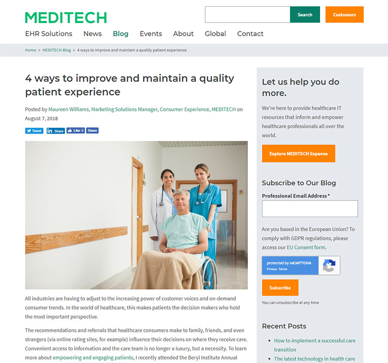 MEDITECH's Blog Screenshot