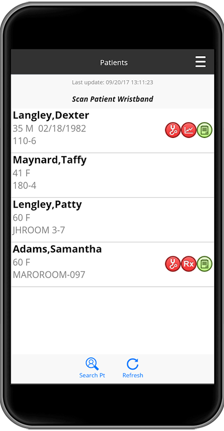 Screenshot of MEDITECH software on mobile phone