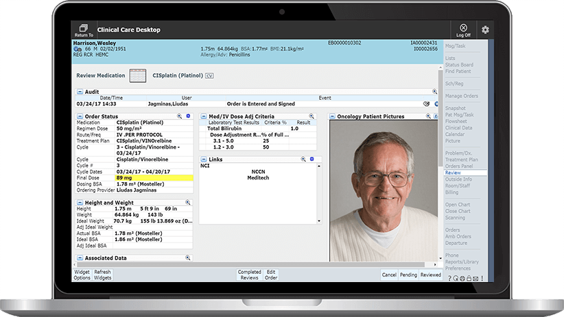 MEDITECH Oncology Screenshot