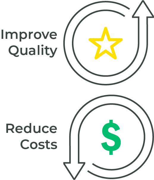 Icon illustrating lowered cost but improved quality