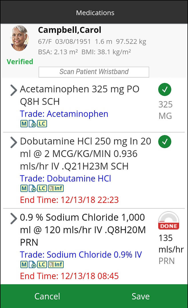 MEDITECH's Web Point of Care software - medication.