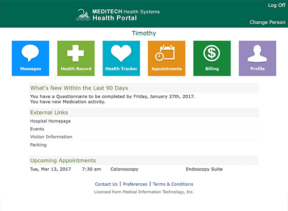 MEDITECH's Patient Portal Screenshot