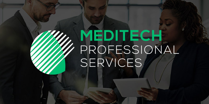 MEDITECH Professional Services logo displayed in front of 3 business people in discussion with tablets.
