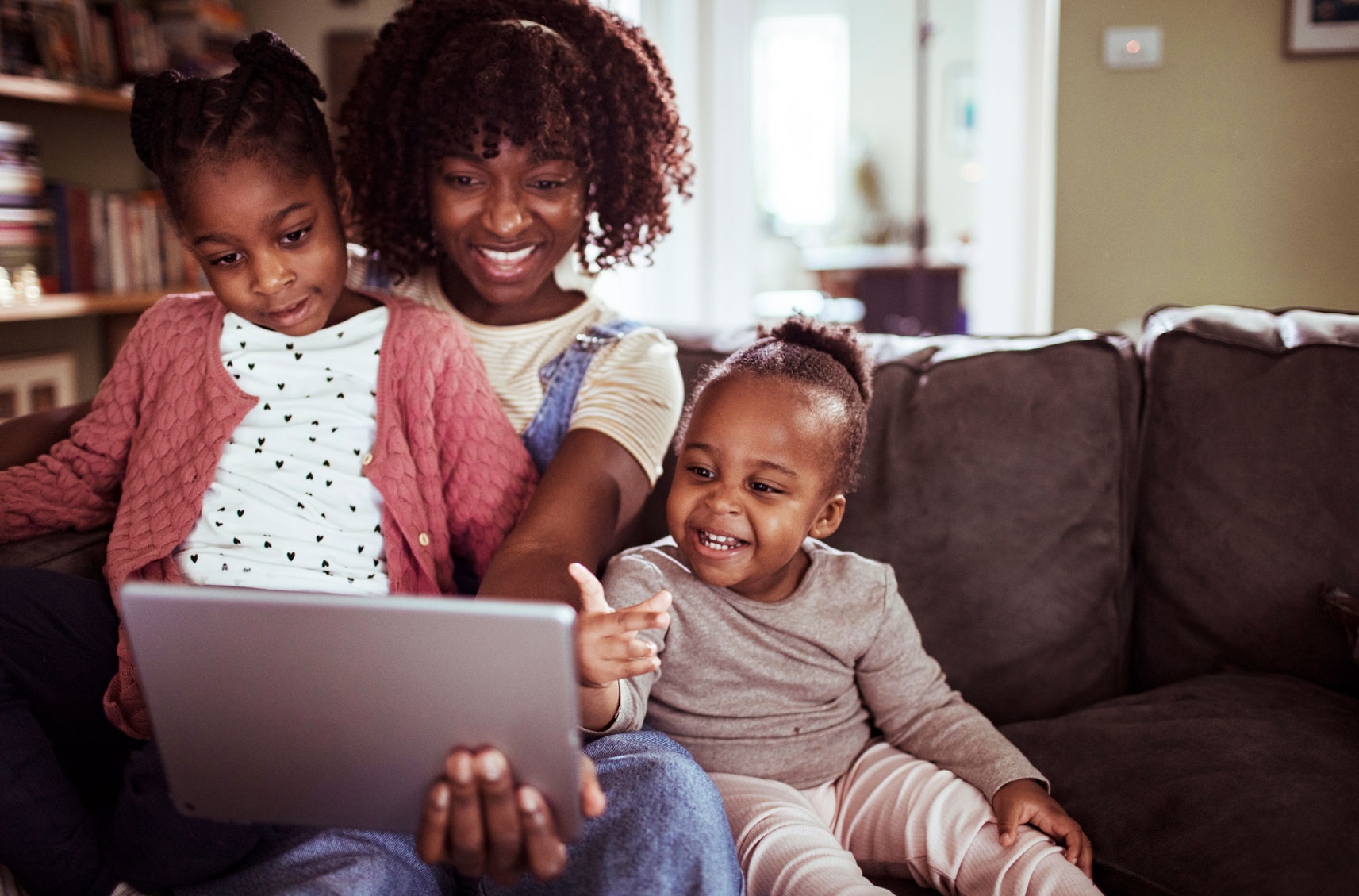 Family on laptop for virtual visit