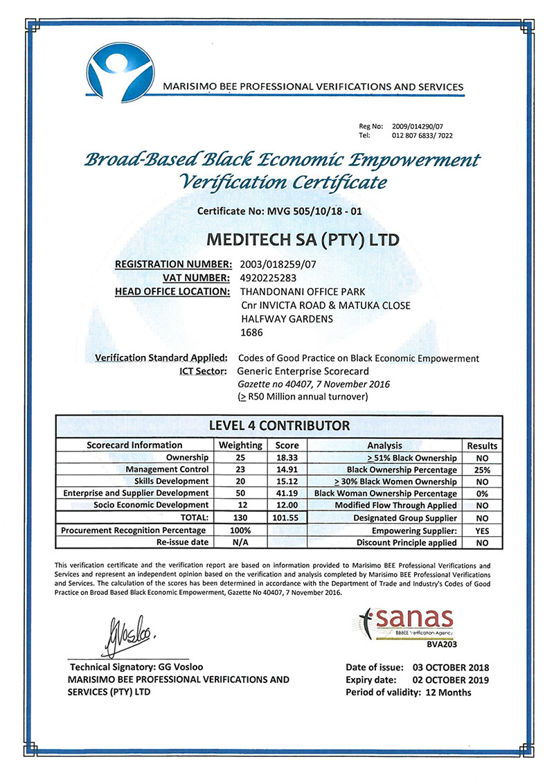 MEDITECH South Africa BBBEE 2019 Certificate