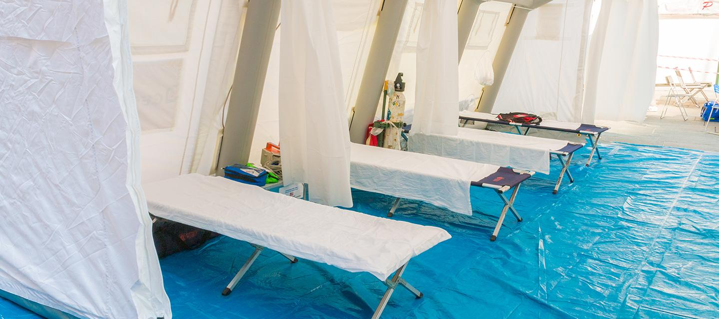 temporary outdoor tent and medical beds